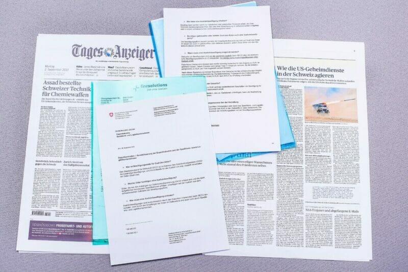 Zeitungsbericht über den Verstoss bei einer Exportkontrolle