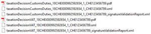 6 Dateien nach Abholung und Entzippen der Veranlagungsverfügungen eVV vom Zoll