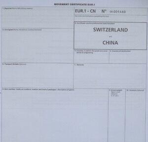 Warenverkehrsbescheinigung EUR.1 CN (EUR.1 China für Ausführer ohne EA-Bewilligung)