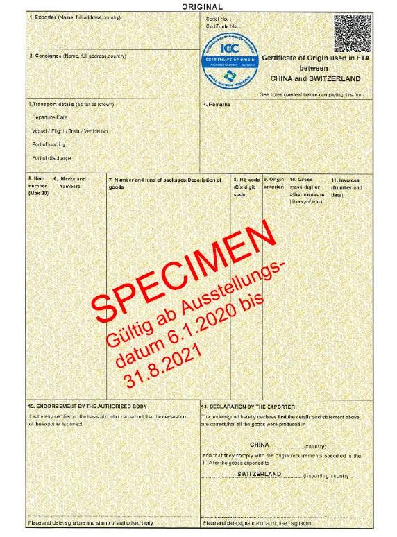 Ursprungszeugnis - Specimen Import aus China