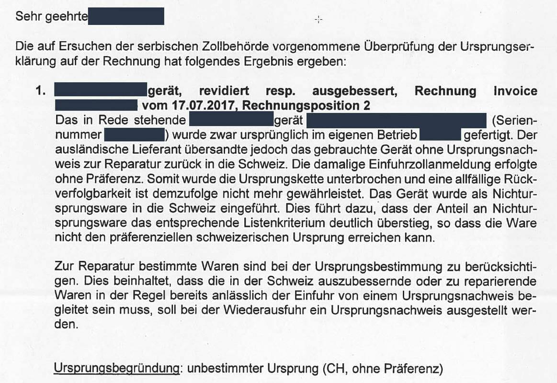 Ein Brief der Eidgenösssischen Zollverwaltung weist auf einen fehlenden Präferenznachweis bei einer Retourensendung hin.
