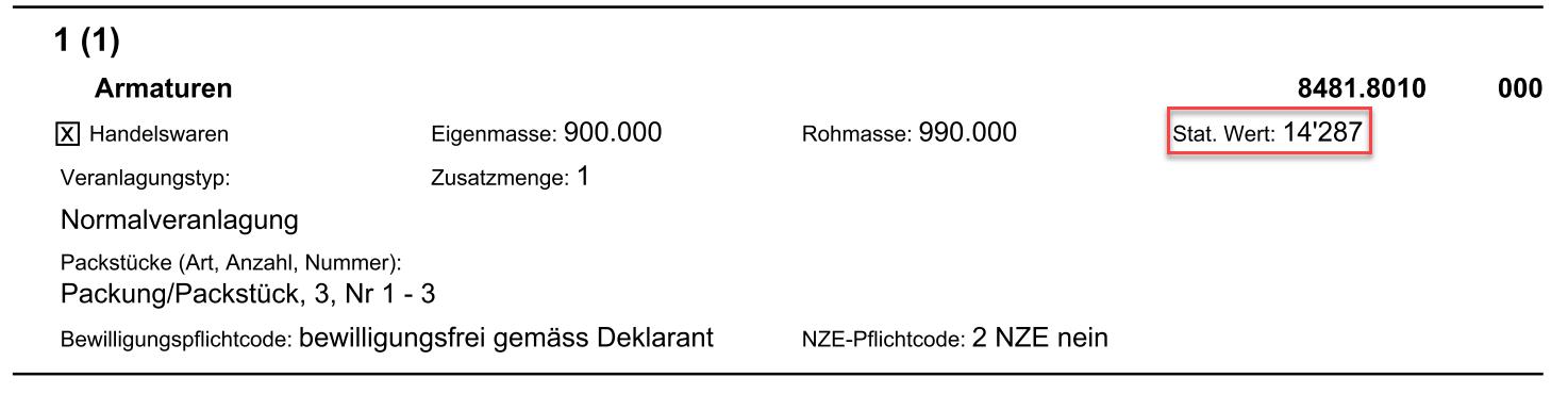 Statistischer Warenwert auf der Schweizer Zollanmeldung