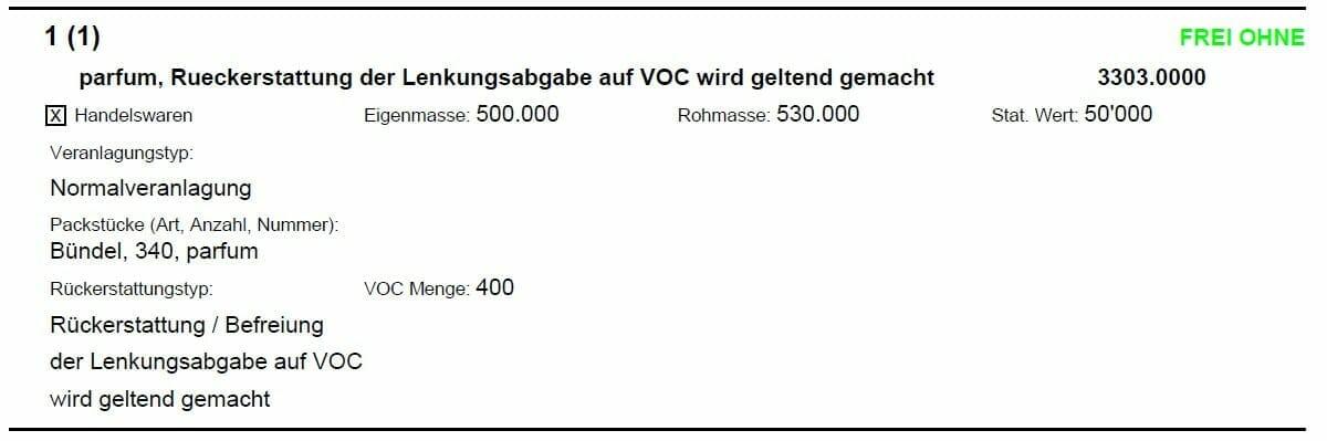 Auszug aus einer Ausfuhrliste mit Antrag auf VOC Rückerstattung