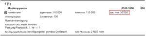 Anzeige des Richtigcodes beim Statitischen Wert einer Warenposition auf einer e-dec Ausfuhrliste