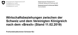 Deckblatt Wirtschaftsbeziehungen CH - GB vom 11.02.19