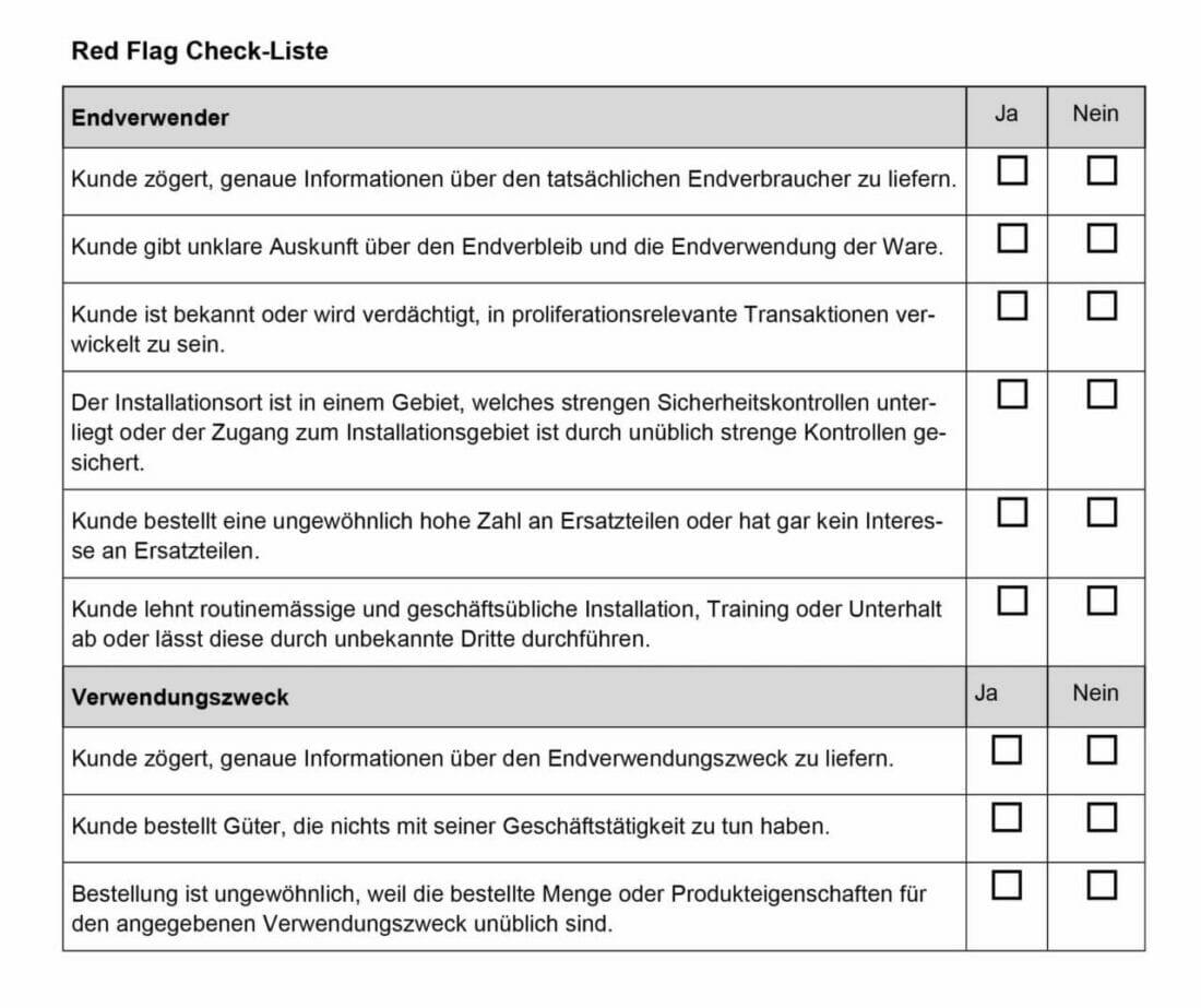 Auszug aus der Red-Flag Checkliste