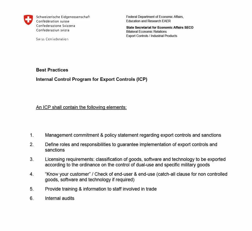 Leitfaden für das Internal Compliance Program des SECO