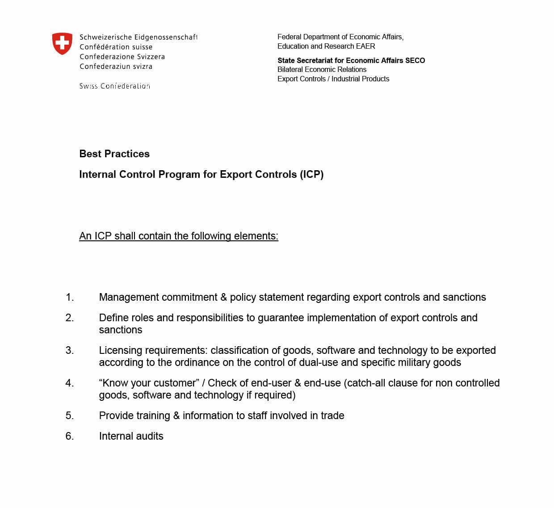Leitfaden für das Internal Compliance Programm von der SECO