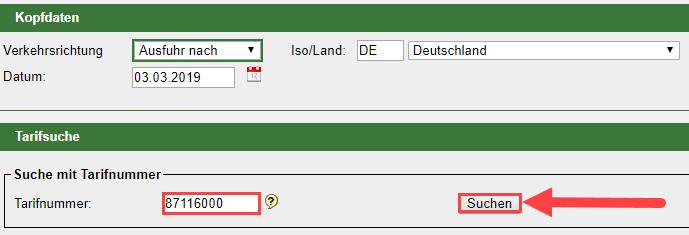 Tarfinummer Suchen Grafik im System