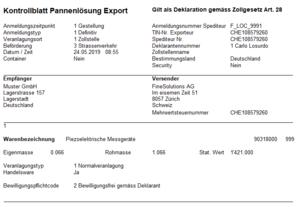 Kontrollblatt Pannenlösung e-dec Export aus Softwarelösung  ExpoWin bzw. pZoll