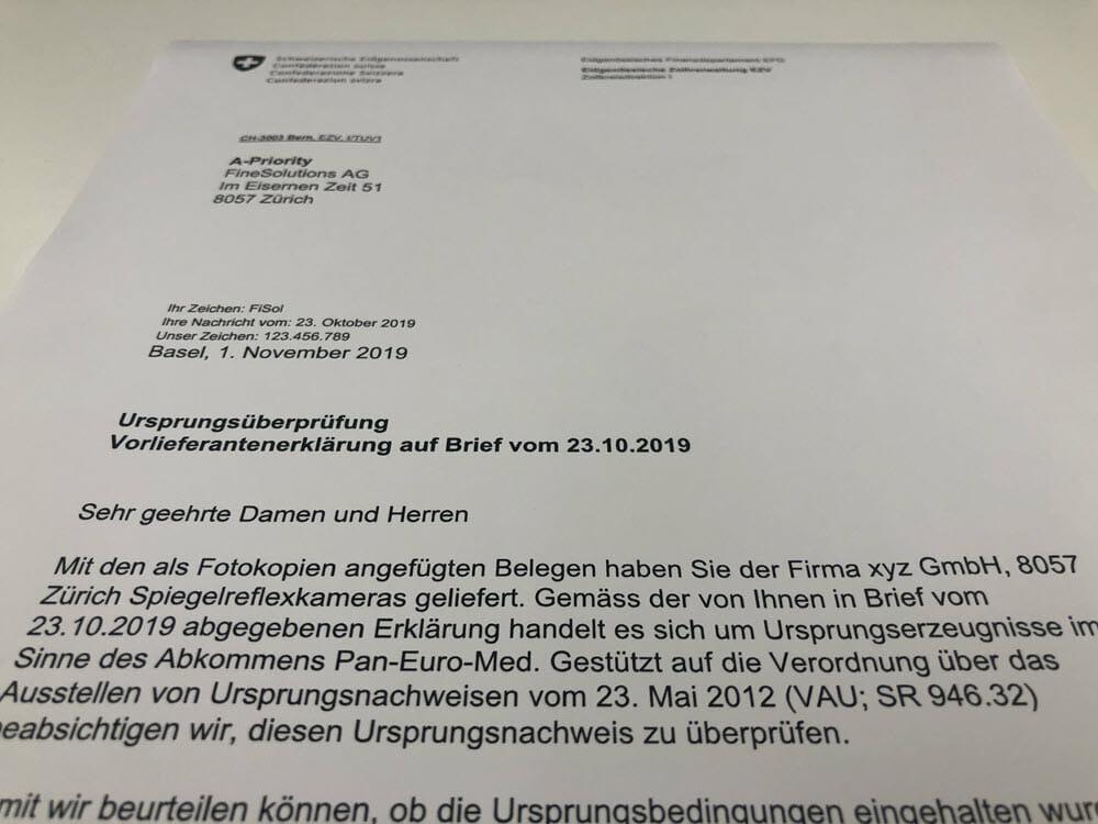 Ein Brief zur Ursprungsüberprüfung von der Eidgenössischen Zollverwaltung an FineSolutions