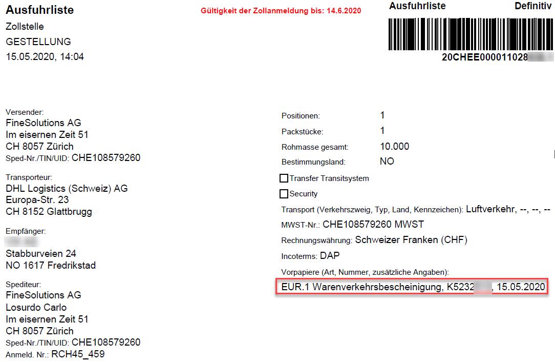 Ausfuhrliste mit EUR.1 Vorpapiervermerk