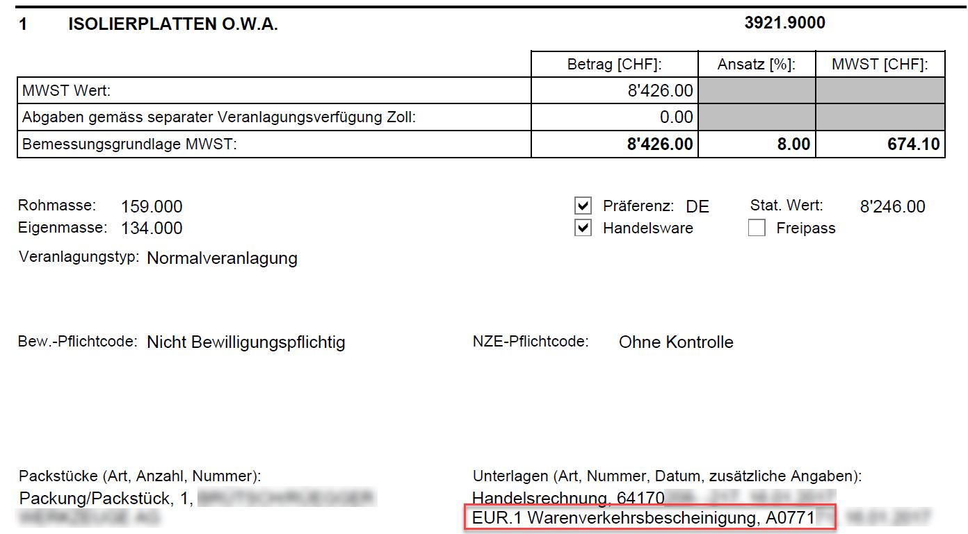Elektronische Veranlagungsverfügung eVV Import mit Unterlagenangabe EUR.1