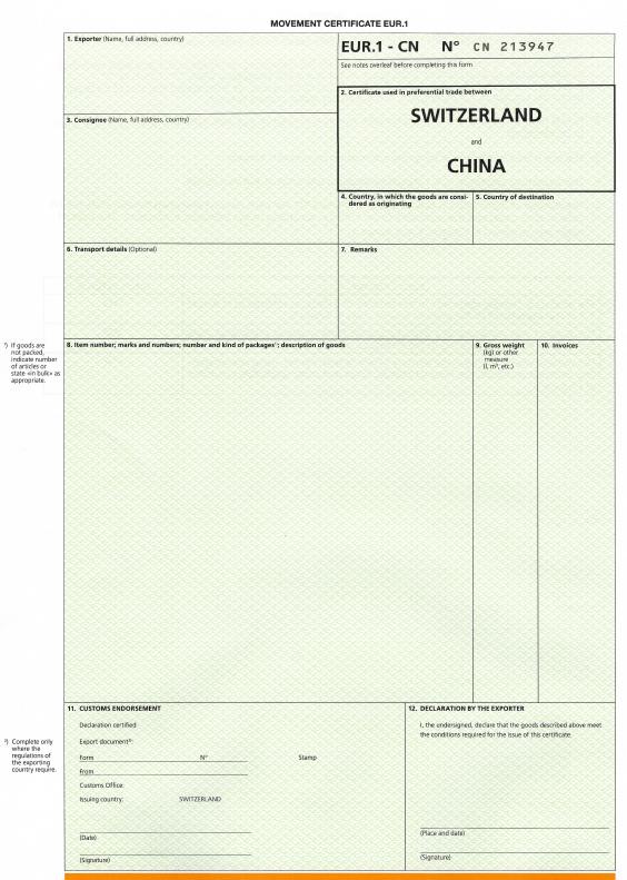 Leeres Formular Vorderseite EUR.1 CN (Schweiz China)