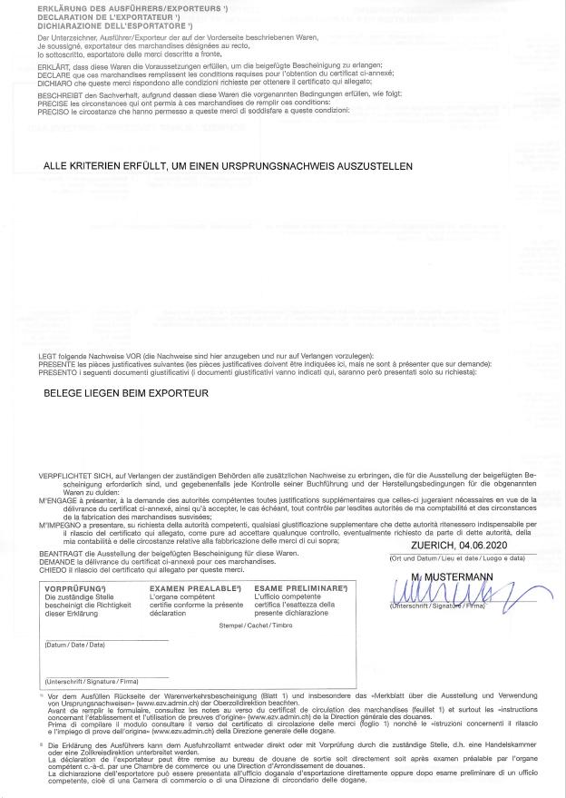 Muster ausgefüllte Warenverkehrsbescheinigung EUR.1 Rückseite