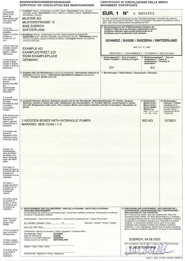 Muster ausgefüllte Warenverkehrsbescheinigung EUR.1 Vorderseite