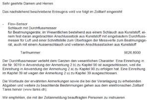 Auszug Schreiben Schweizer Zollverwaltung verbindliche Zolltarifauskunft VZTA