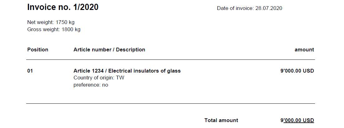 Screenshot eines Rechnung-Dokuments