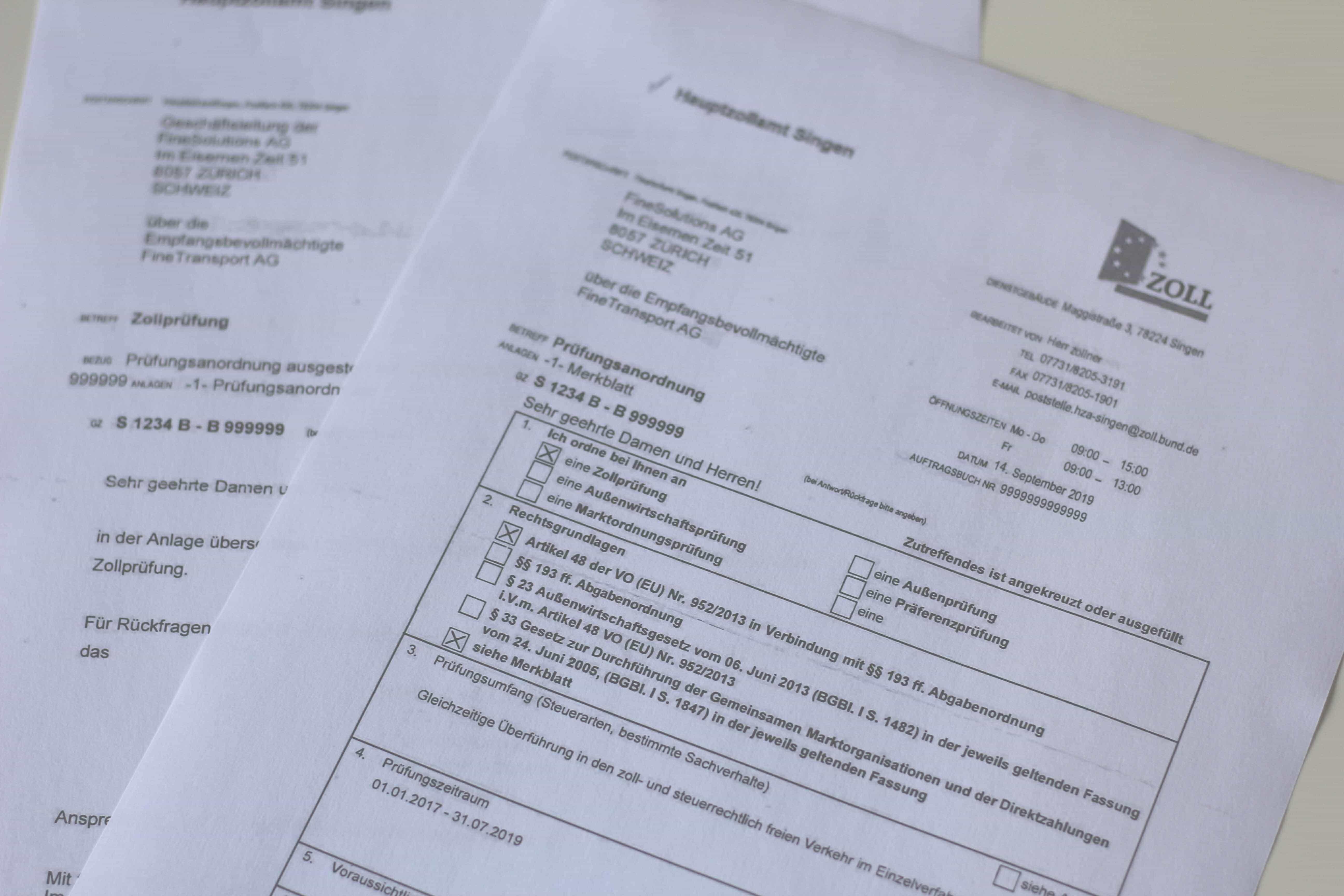 Brief vom Hauptzollamt mit Ankündigung zur Zollprüfung und Prüfungsanordnung
