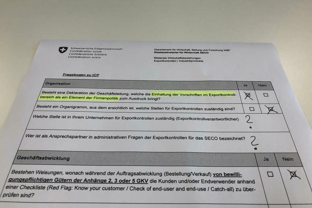 Fragebogen des SECO zum Internal Compliance Program für die Umsetzung der Exportkontrolle im Unternehmen