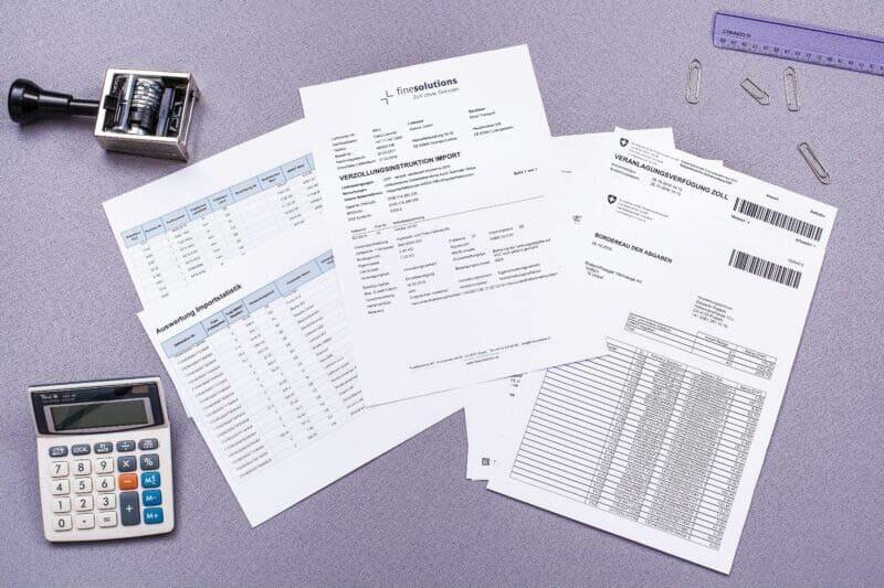 Bild Dokumente Veranlagungsverfügung Import Ausfuhr mit Begleitdokumenten